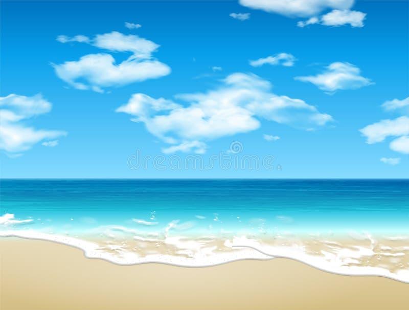 Paisagem do VER?O Litoral e Sandy Beach vetor 3d Ilustra??o real?stica altamente detalhada ilustração do vetor