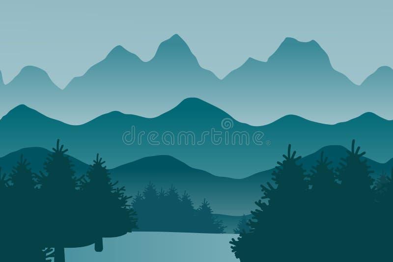 Paisagem do vetor com montes e a floresta conífera - ilustração simples ilustração royalty free