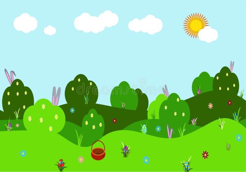 Paisagem do vetor da mola Ilustração com arbustos, montes com flores, orelhas do coelho e ovos coloridos, céu, grama verde festiv ilustração stock