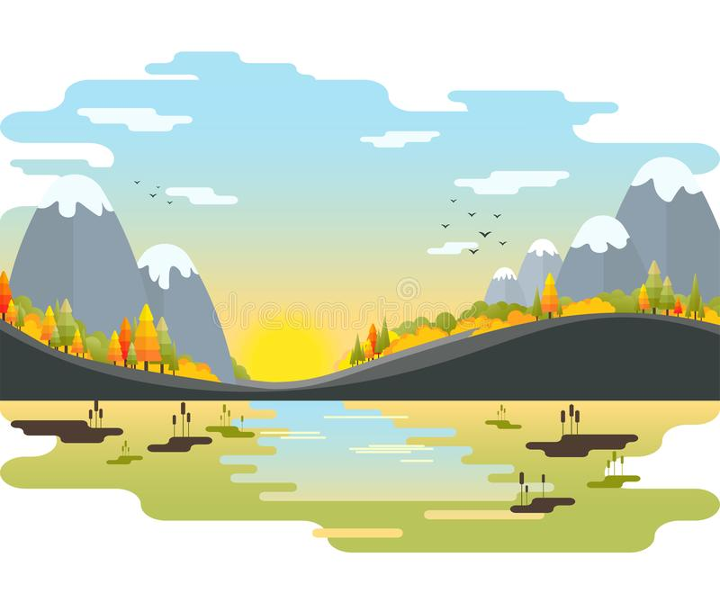Paisagem do vetor do outono Montanhas com abeto e arbustos no beira-rio fotografia de stock