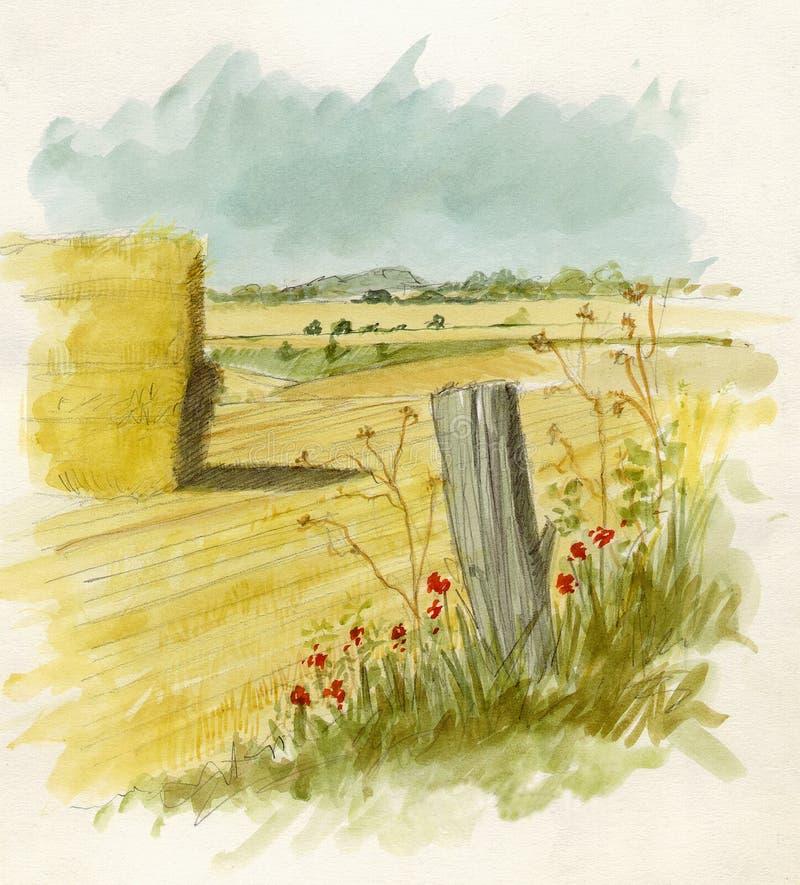 Paisagem do Watercolour ilustração do vetor