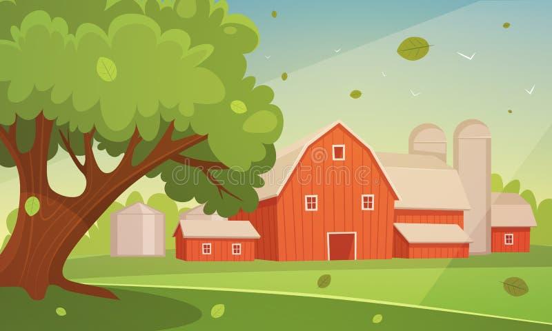 Paisagem dos desenhos animados da exploração agrícola ilustração stock