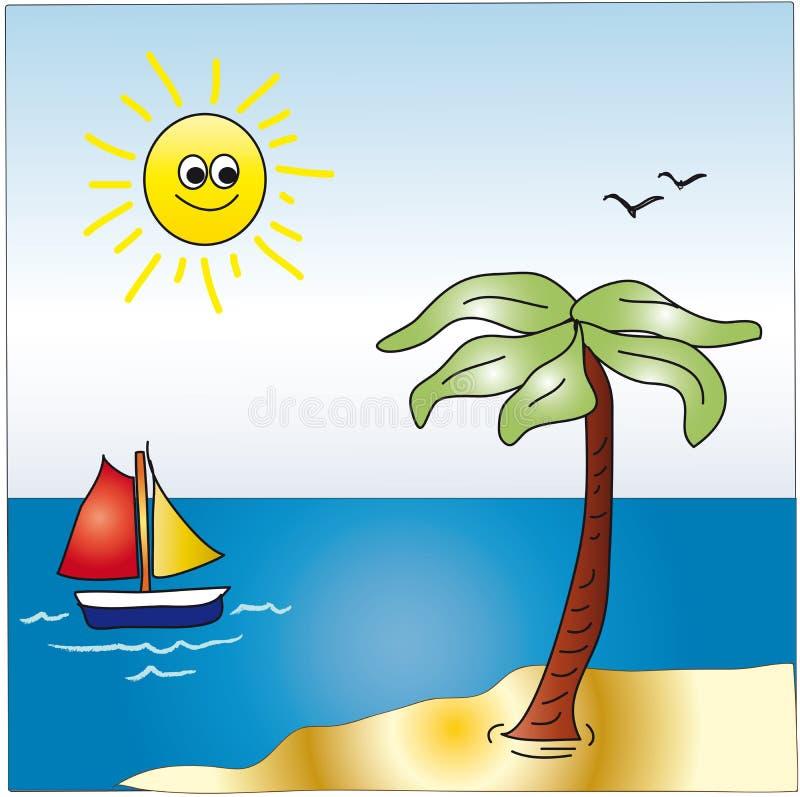 Paisagem dos desenhos animados do mar ilustração royalty free