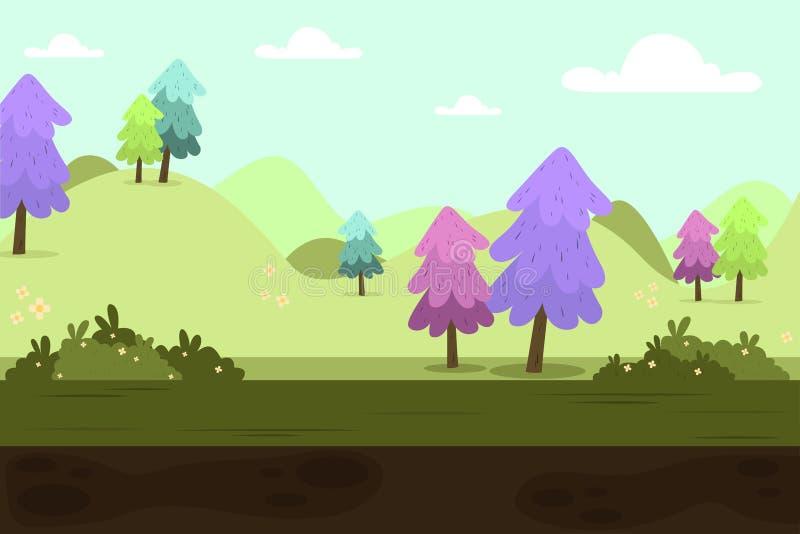 Paisagem dos montes verdes da natureza com árvores ilustração royalty free