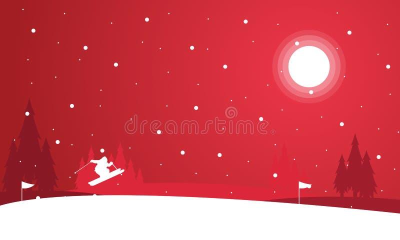 Paisagem dos povos que esquiam no inverno da noite ilustração do vetor