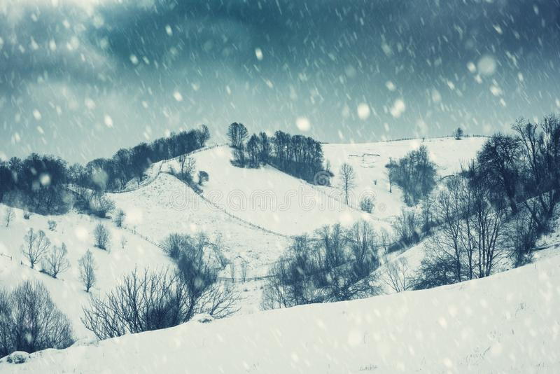 Paisagem dramática do inverno, inclinação de montanha durante o blizzard imagem de stock
