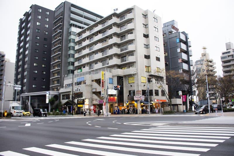 Paisagem e arquitetura da cidade da vista com noite da estrada do tráfego da rua do dori de Kannana em Higashikasai, Edogawa no T imagem de stock
