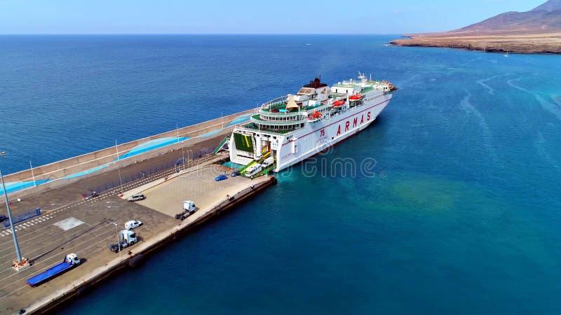 Paisagem e vista de Fuerteventura bonito em Ilhas Canárias, Espanha imagens de stock royalty free