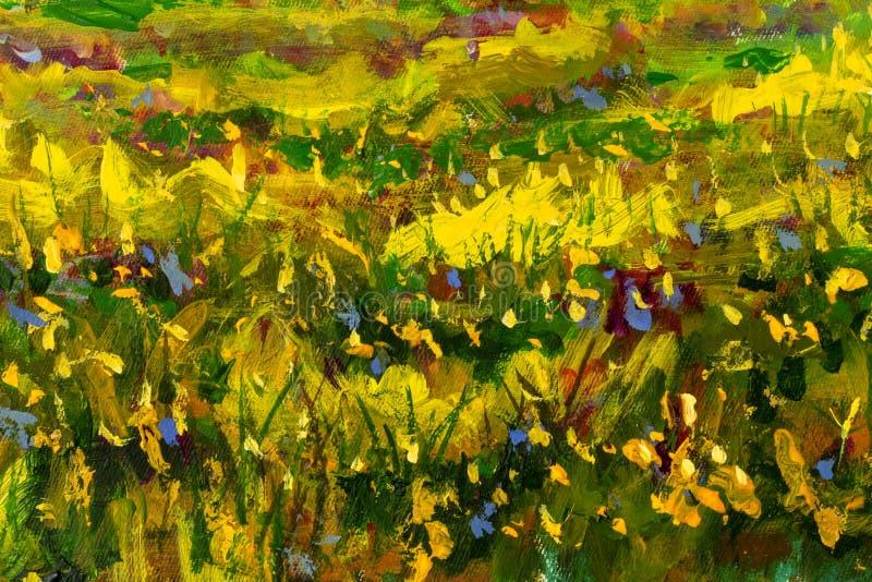 Paisagem ensolarada da floresta da pintura a óleo original, natureza verde, aleia do parque - árvores de vidoeiro da mola de Ar fotografia de stock