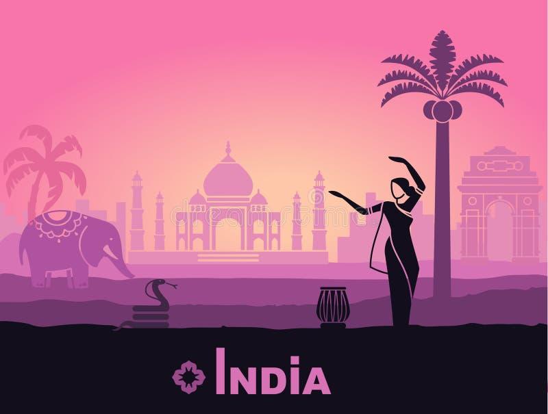 Paisagem estilizado da Índia com Taj Mahal, um elefante e um dançarino Fundo do vetor ilustração royalty free