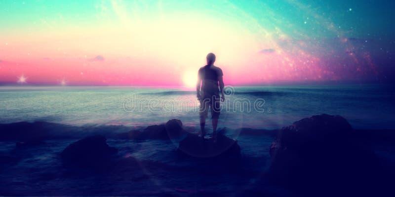 Paisagem estrangeira com o homem na praia imagem de stock