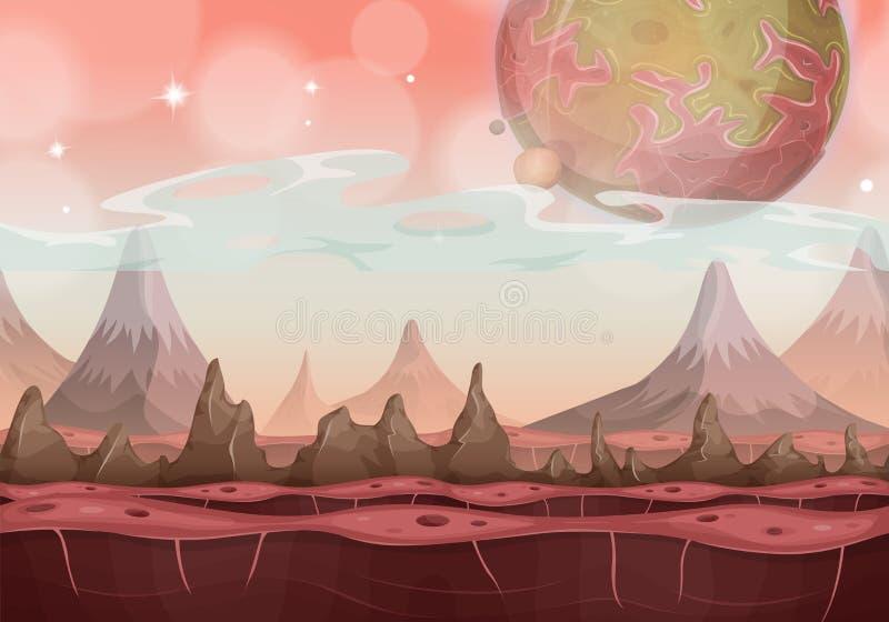 Paisagem estrangeira da ficção científica da fantasia para o jogo de Ui ilustração do vetor