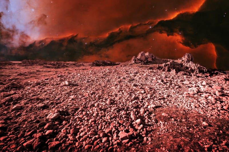 Paisagem estrangeira e Eagle Nebula (os elementos desta imagem fornecem fotos de stock royalty free
