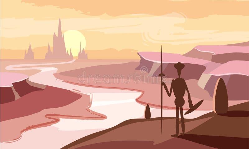 Paisagem fantástica da montanha, vale, rio, por do sol, montanhas, cavaleiro, estilo dos desenhos animados, ilustração do vetor ilustração do vetor