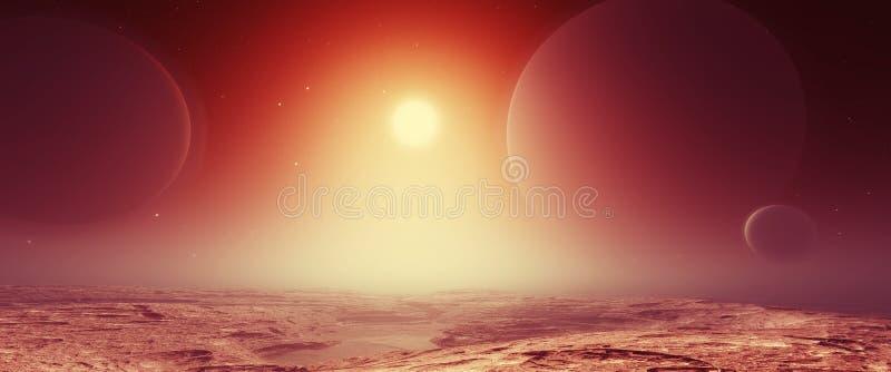 Paisagem fantástica de Exoplanet ilustração royalty free