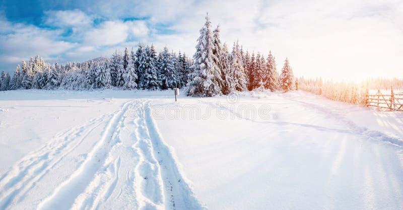 Paisagem fantástica do inverno, estrada, algo que conduz nas montanhas Dia ensolarado gelado nas montanhas Em foto de stock royalty free