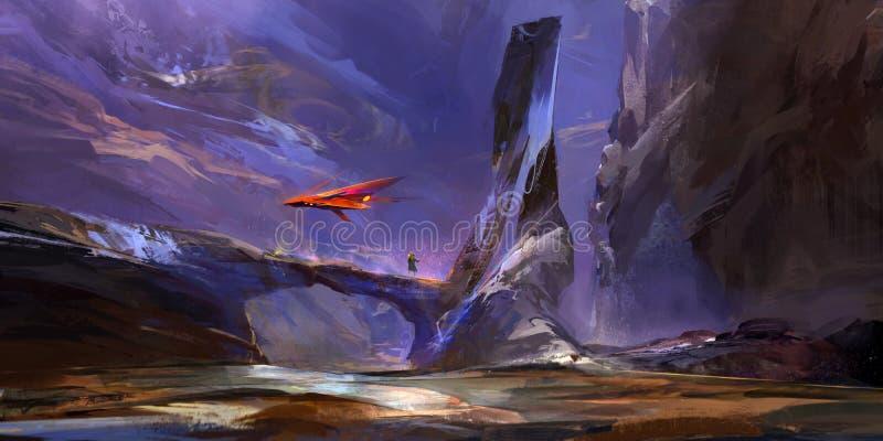 Paisagem fantástica tirada da montanha do futuro ilustração do vetor