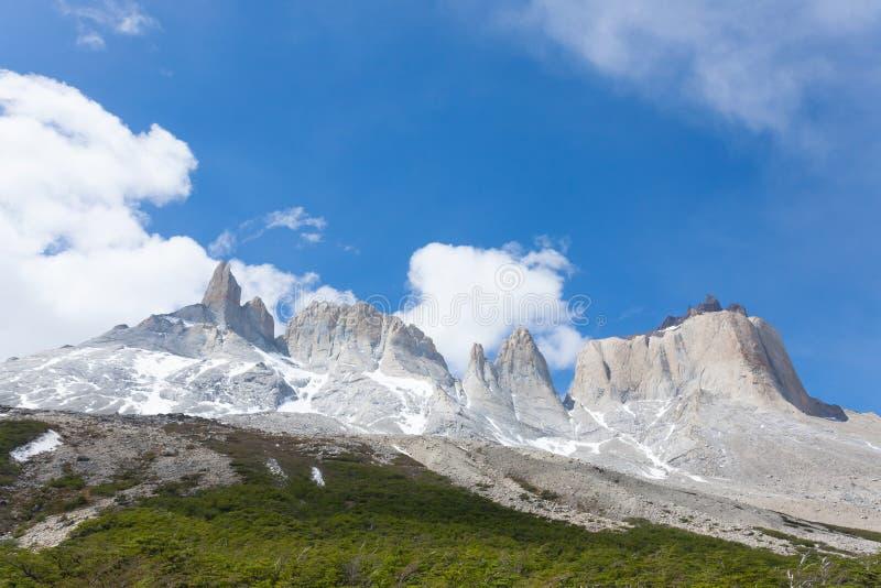 Paisagem francesa do vale, Torres del Paine, o Chile imagem de stock