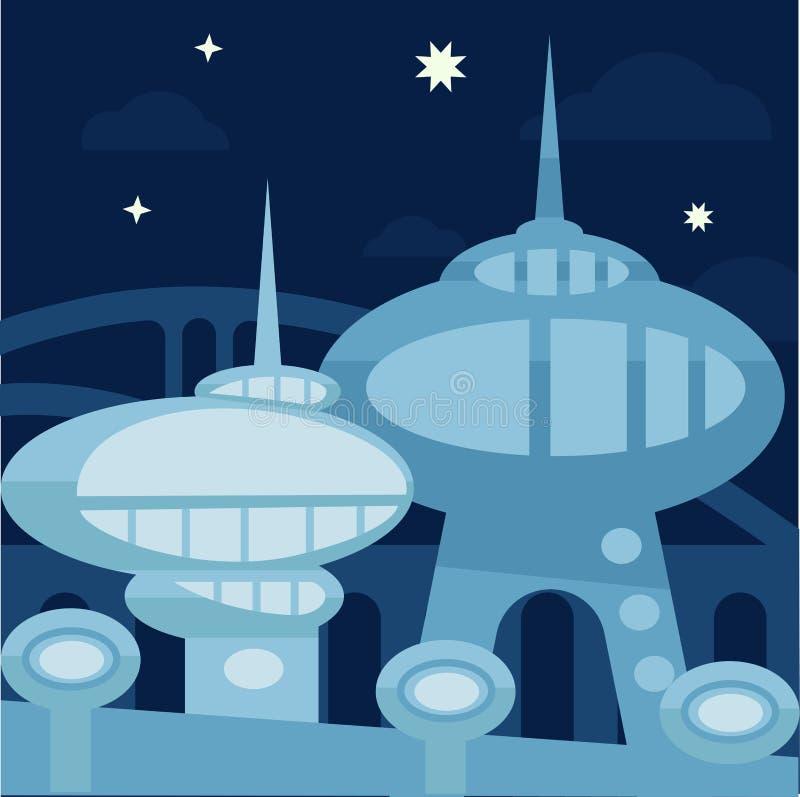 Paisagem futura da cidade Vetor moderno ilustração stock