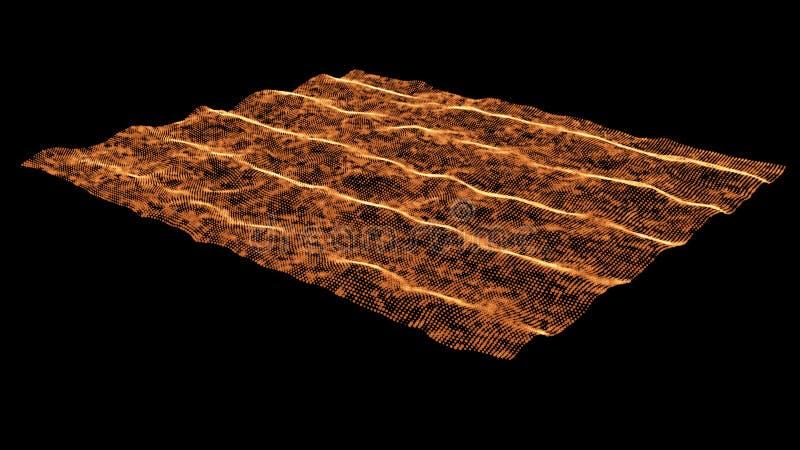 Paisagem futurista com grade brilhante Baixo terreno poli fundo do sumário da rede 3d Vetor ilustração stock