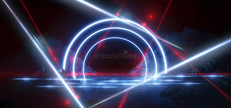Paisagem futurista do espaço Meteorito impetuosos, faíscas, fumo, arcos claros Fundo escuro com elemento claro no centro ilustração stock