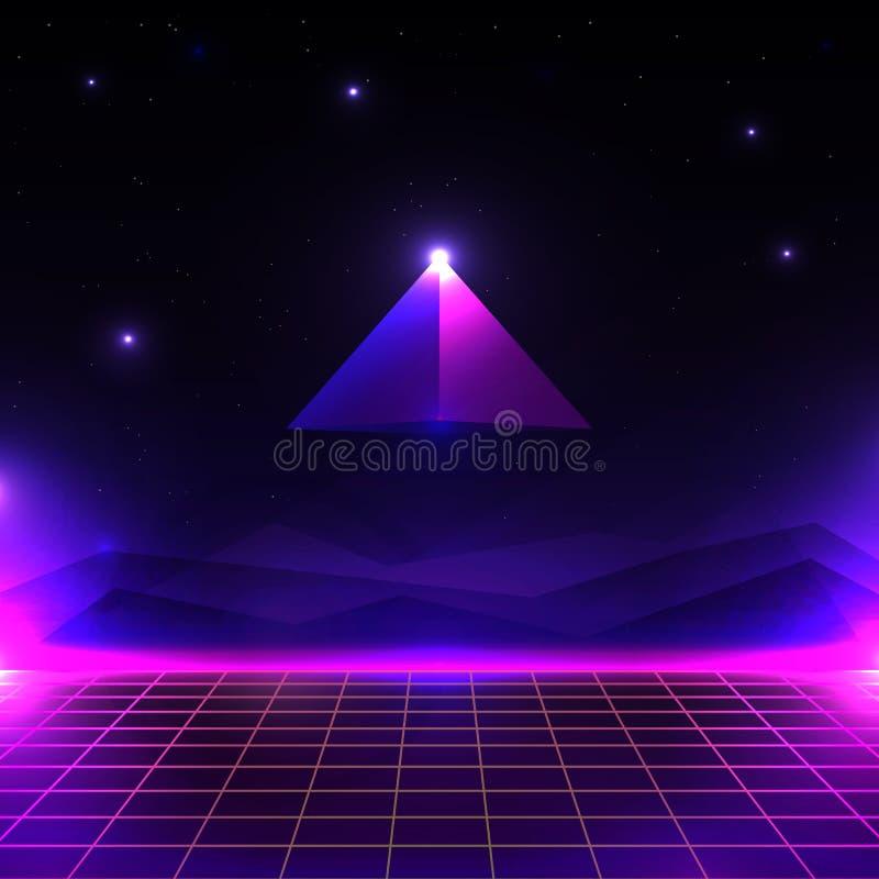 Paisagem futurista retro, mundo de incandescência do cyber com grade e forma da pirâmide estilo do fundo 80s da ficção científica ilustração do vetor
