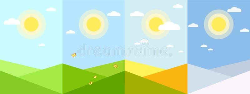 Paisagem geométrica do fundo da estação do inverno do outono do verão da mola da aplicação do papel de parede de quatro estações  ilustração royalty free