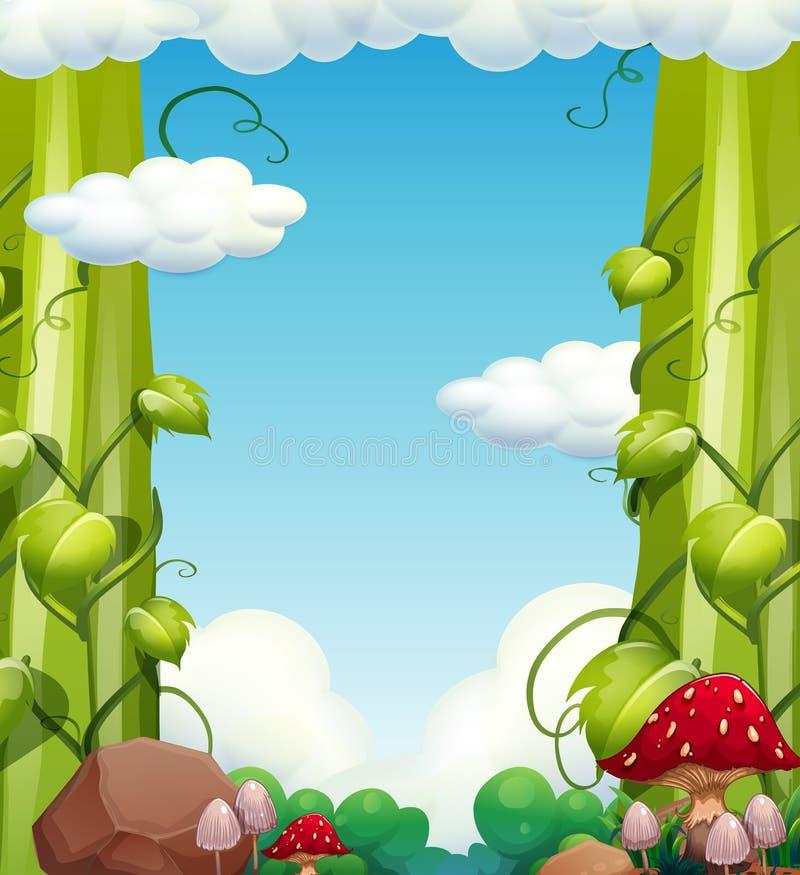 Paisagem gigante da árvore e do cogumelo ilustração royalty free