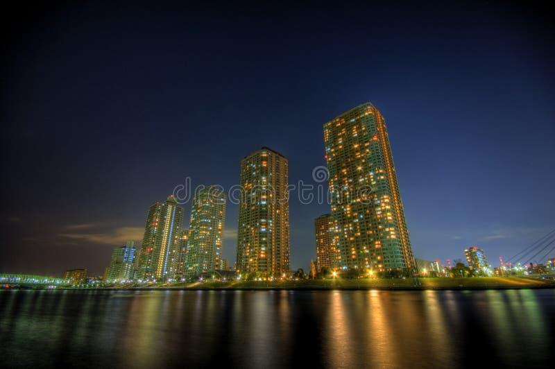 Paisagem HDR da noite no Tóquio fotos de stock royalty free