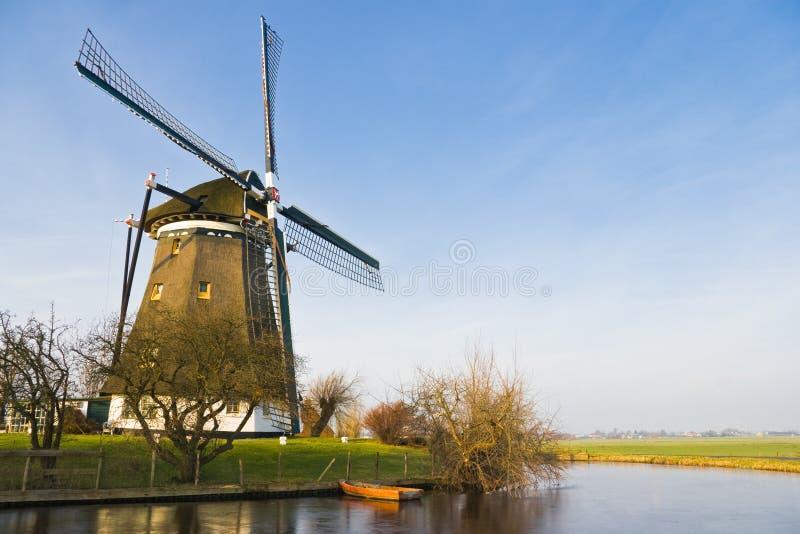 Paisagem holandesa com moinho de vento imagem de stock royalty free