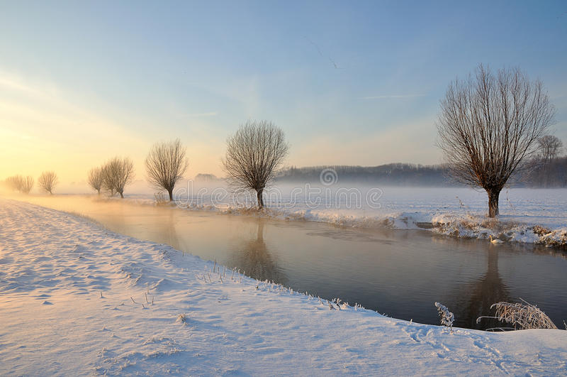Paisagem holandesa do inverno com neve e o baixo sol foto de stock