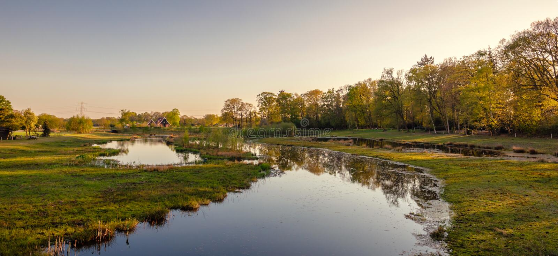 Paisagem holandesa do rio durante o por do sol perto da cidade de Almelo fotos de stock