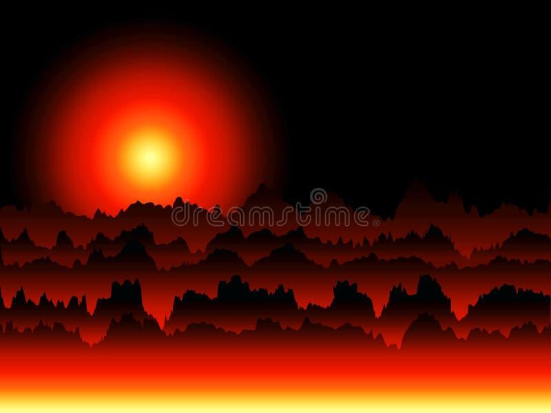 Paisagem imaginária do nascer do sol ilustração royalty free