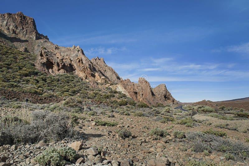 Paisagem incomum do parque nacional Las Canadas del Teide, Tenerife, Ilhas Canárias, Espanha imagens de stock