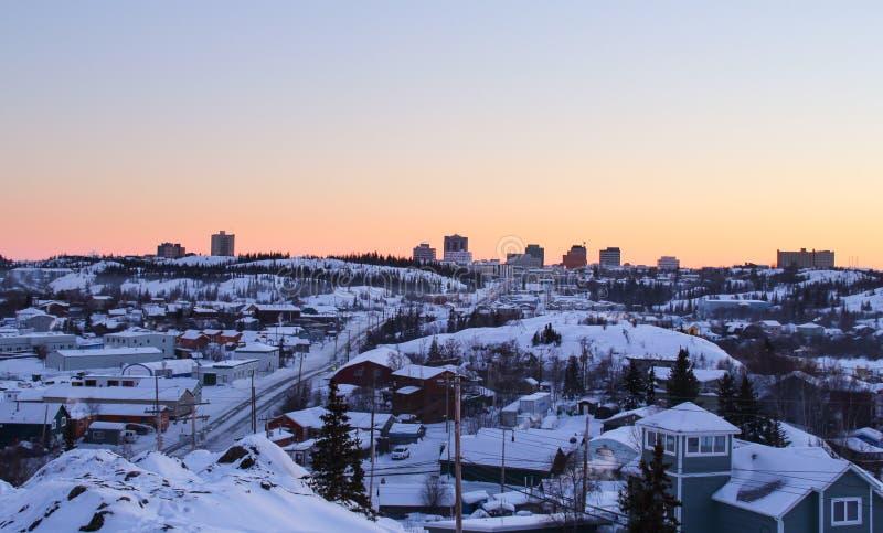 Paisagem invernal de Yellowknife fotos de stock