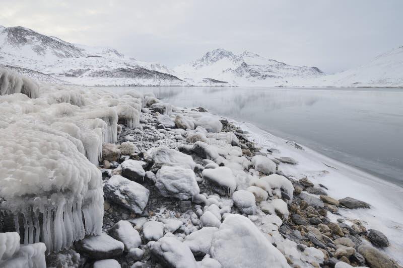 Paisagem invernal, lago mont Cenis imagens de stock