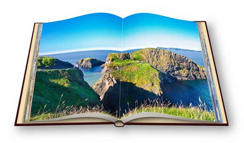 Paisagem irlandesa típica com a ponte suspendida em penhascos Irlanda do Norte - Reino Unido - Carrick um Rede - 3D rendem do ilustração royalty free