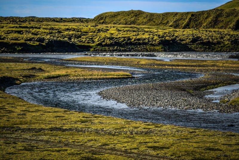 Paisagem islandêsa, campos de lava cobertos com o musgo e córrego dentro imagem de stock royalty free