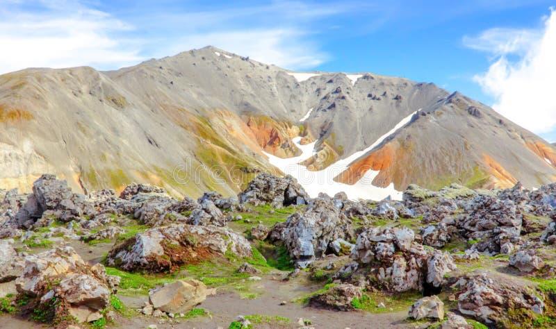 Paisagem islandêsa colorida com montanhas Parque nacional Landmannalaugar fotografia de stock royalty free