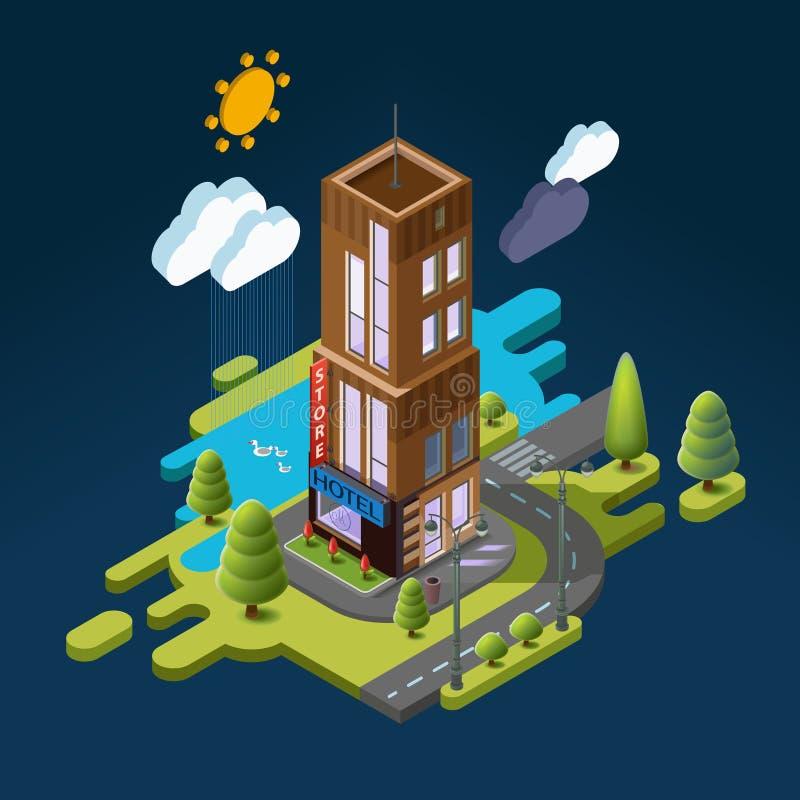 Paisagem isométrica com a construção e a natureza em torno do hotel ilustração stock