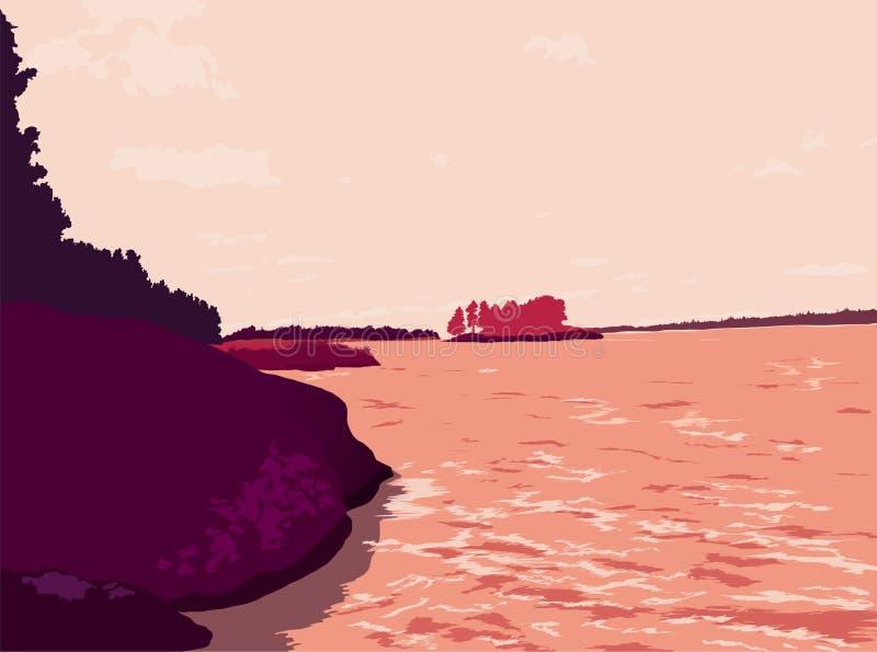Paisagem, lago com árvores, grama, pedras nas silhuetas do céu ilustração do vetor