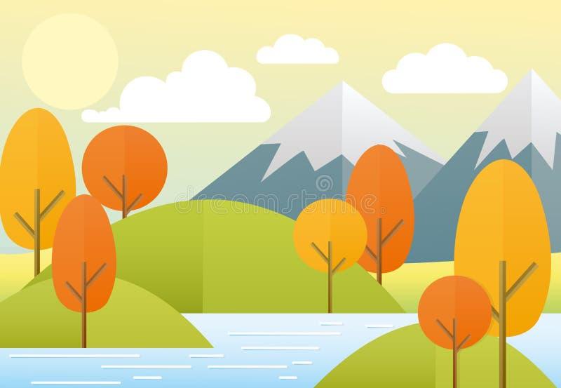 Paisagem lisa da natureza do outono da ilustração do vetor Natureza colorida, montanhas, lago, sol, árvores, nuvens Opinião do ou ilustração stock