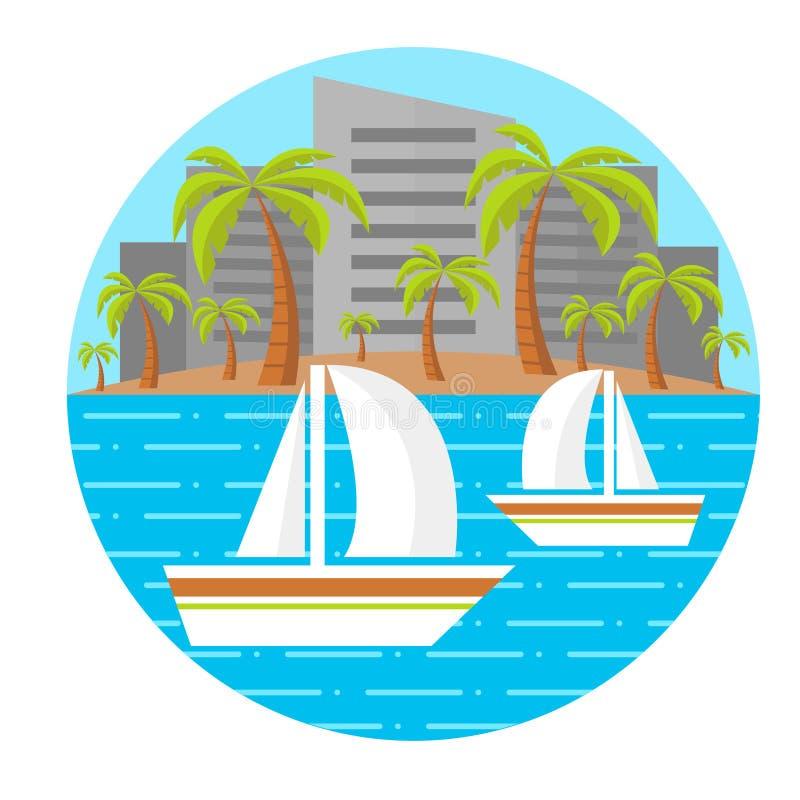 Paisagem lisa da praia Dois barcos de navigação Paisagem tropical Paisagem da cidade Ilustração do vetor editable Isolado Composi imagem de stock