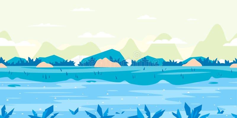 Paisagem lisa do fundo do jogo do fluxo do rio ilustração do vetor