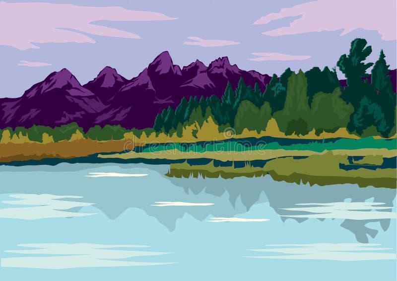 Paisagem lisa do projeto de opini?es da montanha e do lago Ilustra??o da paisagem do lago ilustração stock