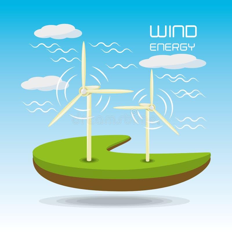 Paisagem lisa releated com windpower ilustração do vetor