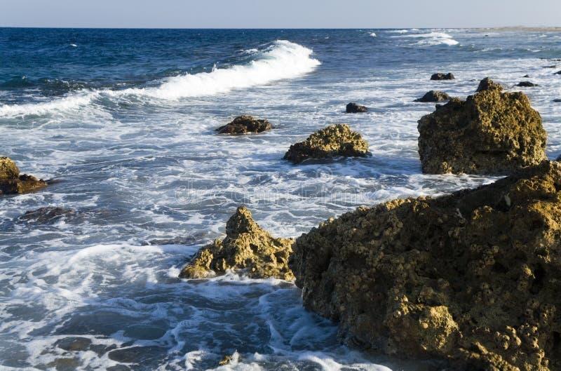 Paisagem litoral na noite durante o ebb imagem de stock royalty free