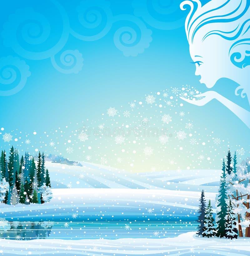 Paisagem mágica do inverno do vetor. ilustração do vetor