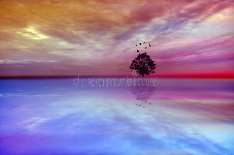 Paisagem mágica do sumário da árvore com céu dramático ilustração royalty free