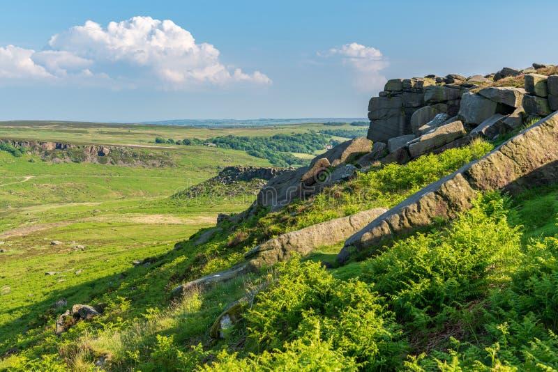 Paisagem máxima do distrito, vista do Tor de Higger, South Yorkshire, fotografia de stock